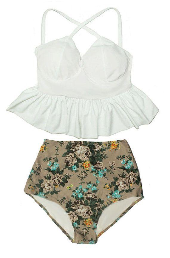 What a cute two piece! flower pattern white top green blue bottom beautiful womensfashion fashioninspiration bathingsuit beach summer style