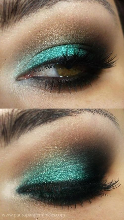 Great turquoise/Green eye make! Makes my Brown eyes looks a little Green:) make up of the day