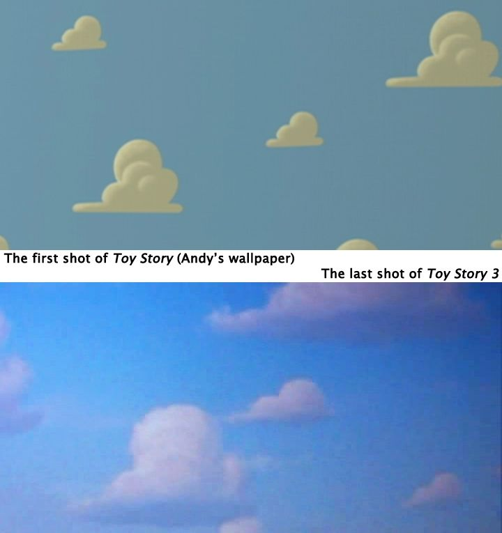 Oh goodness this made me cry...the fact at the end of TS3 the camera lifted up into the sky and paused at the clouds, just like the ones on Andy's old wallpaper......*cries*