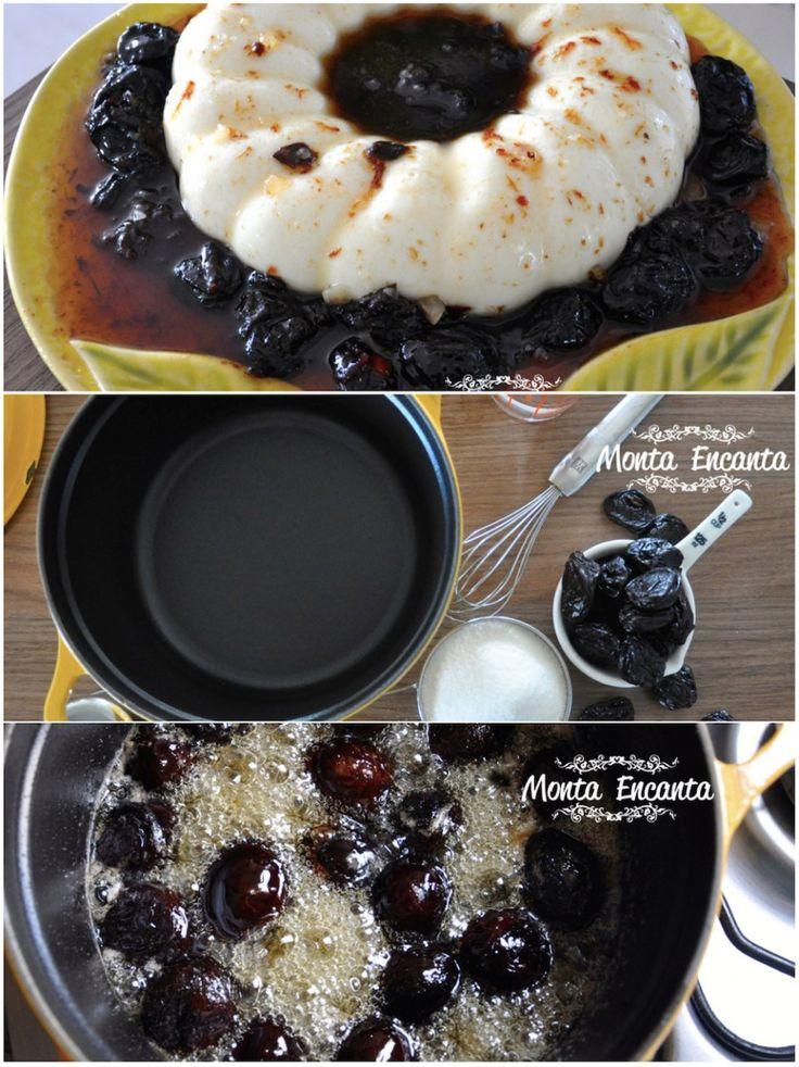Pudim de Coco cremoso, com sabor delicado,   sem ser muito doce e muito muuuito saboroso.  Manjar branco  requintado com uma calda caramelada de ameixa preta, que é o caminho mais reto e direto para o céu!