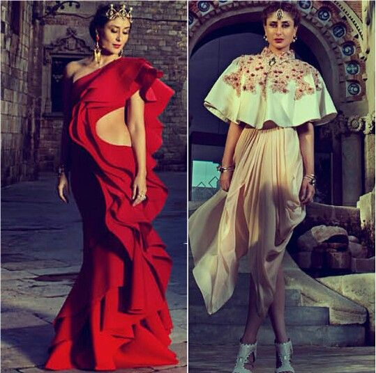 Kareena Kapoor wearing Red dress by Gaurav Gupta and top with skirt by Varun Bahl for Harper's Bazaar Bride India
