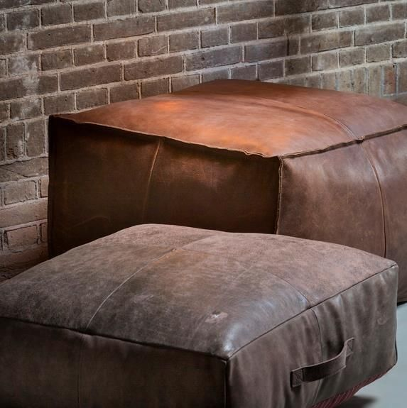 Genuine Leather Pouffe Brown Floor Cushion Pillow Footrest Square Floor Cushions Leather Decor Leather Furniture