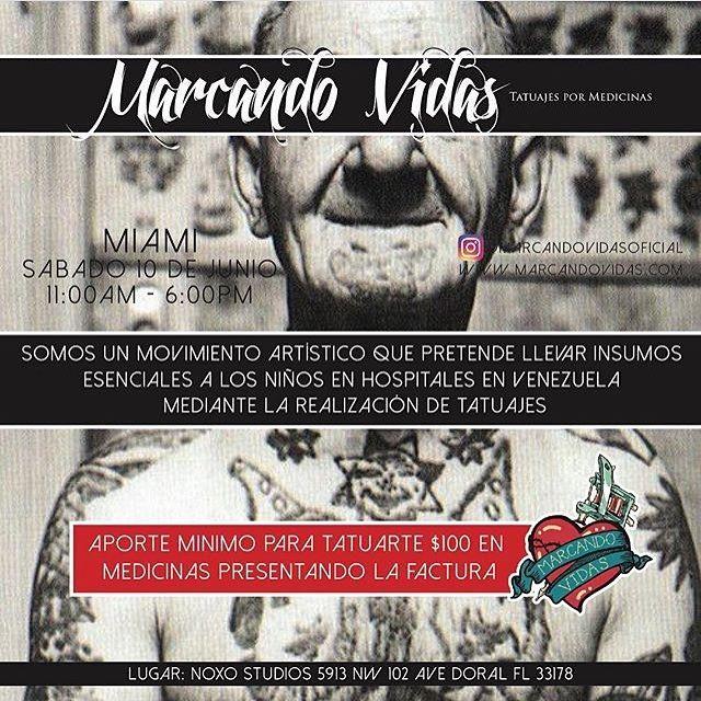 Marcando Vidas @marcandovidasoficial Si estas en Miami y quieres aportar insumos a los niños en hospitales en Venezuela, nosotros te lo agradecemos con un Tatuaje. . Trae tu aporte de $100 en los productos de la lista, con tu factura y podrás tatuarte con cualquiera de estos tatuadores . Gerardo Waz @gerardowaz Guillermo Sanchez @guimorart  Jean Alvarez @jeantattooart Johan Avila @johanavila_art Luis Carmona @luistattooart Will Peña @willarte25 Yomico Moreno @yomicoart . Este Sábado 10 Jun…