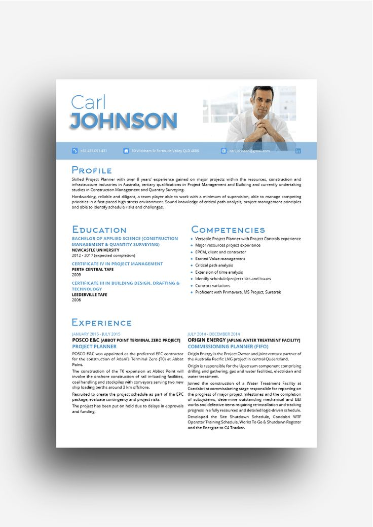the Mosman resume design in blue