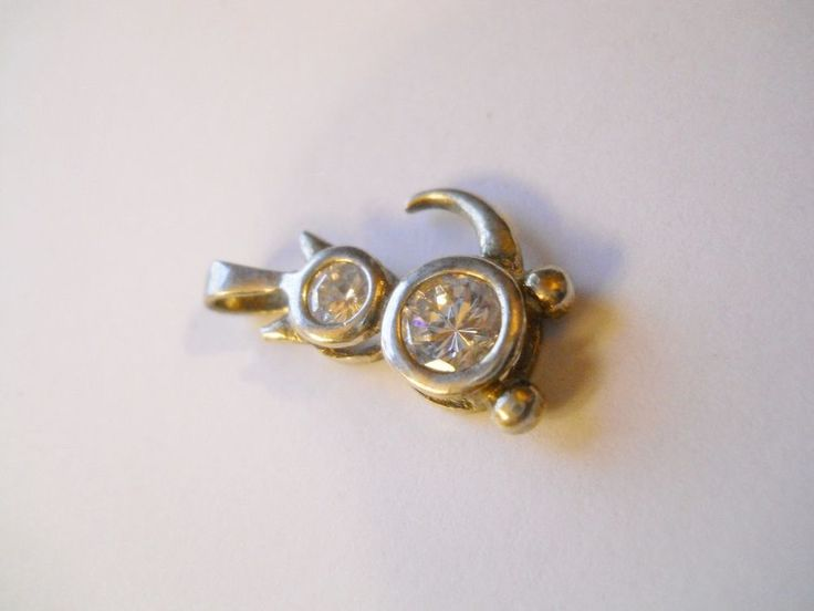 925 Sterling Silver Crystal CAT Birth Stone Charm CLEAR APRIL BOY or GIRL PET