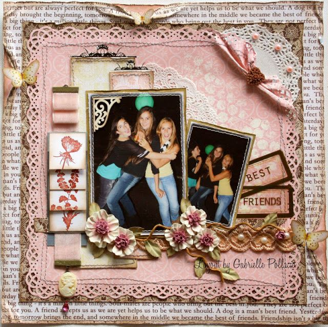Scrapbook page made by design team member Gabrielle Pollacco using NEW Websters Pages mid-season release 'Best Friends' featuring Storymarkers' used in a waterfall pull design (click on photo to find link to tutorial)