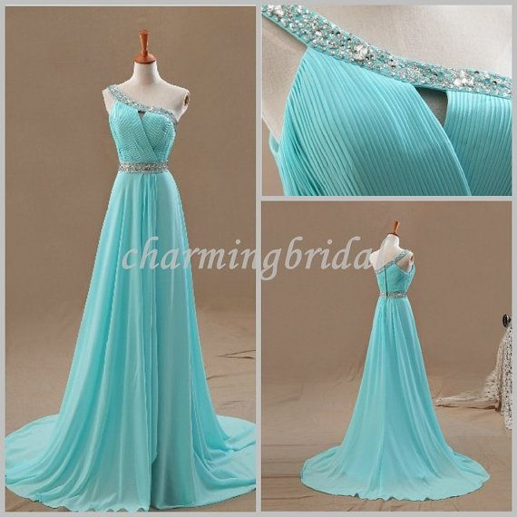 Pretty Sky Blue A-line One Shoulder Floor-Length Chiffon Bridal Dress,Party Dress, Bridesmaid Dress, Cheap long Prom Dress, Evening Dress