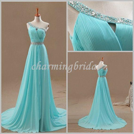Pretty Sky Blue A-line One Shoulder Floor-Length Chiffon Bridal Dress,Party Dress, Bridesmaid Dress, Cheap long Prom Dress, Evening Dress