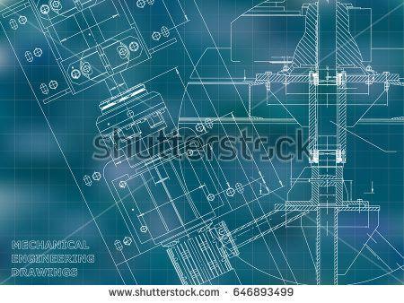 Blueprints. Mechanical engineering drawings. Technical Design. Cover. Banner. Blue. Grid  #bubushonok #art #bubushonokart #design #vector #shutterstock  #technical #engineering #drawing #blueprint   #technology #mechanism #draw #industry #construction #cad