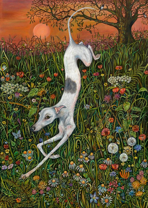 The Last Dance at Sunset  Whippet Art Print by AlmostAnAngel66, £17.00