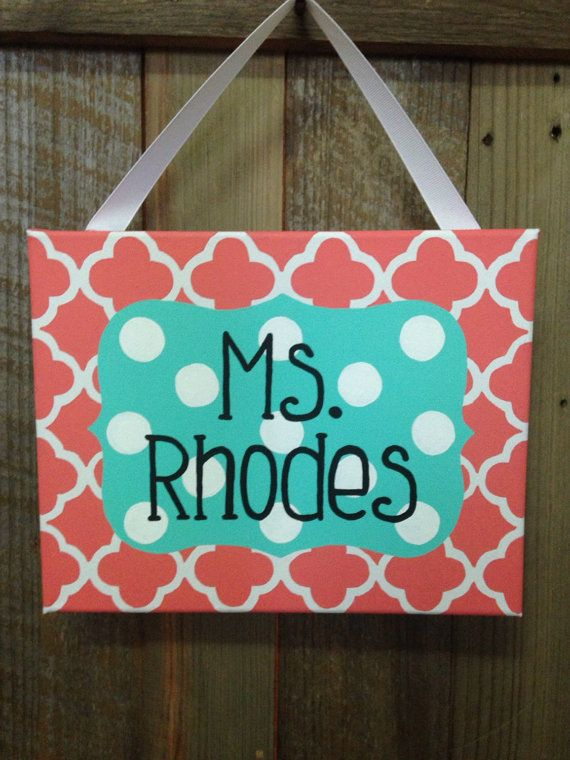 Coral and aqua teacher name sign classroom door by LillouHandmade