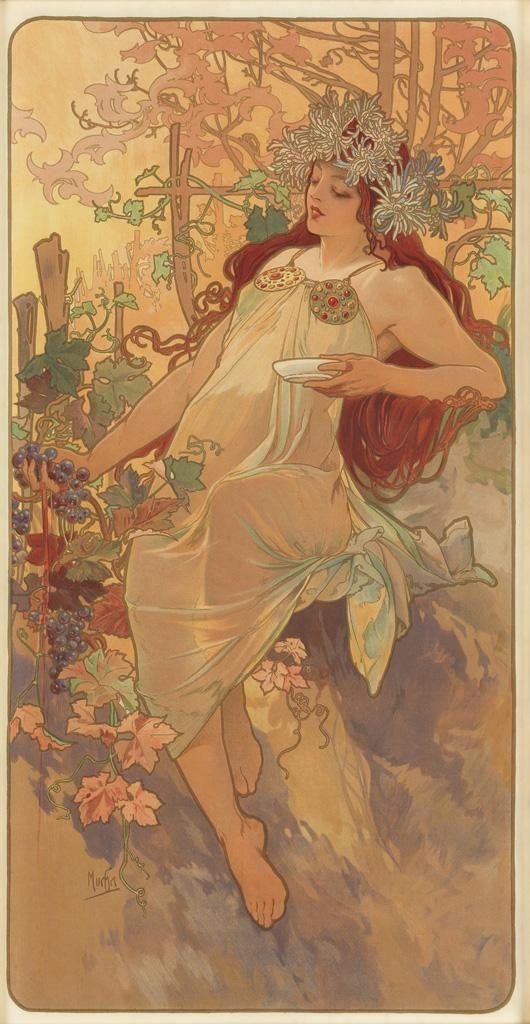 ALPHONSE MUCHA (1860-1939). [THE SEASONS / AUTUMN.] 1896. 40x21 inches, 103x53 cm. [F. Champenois, Paris].