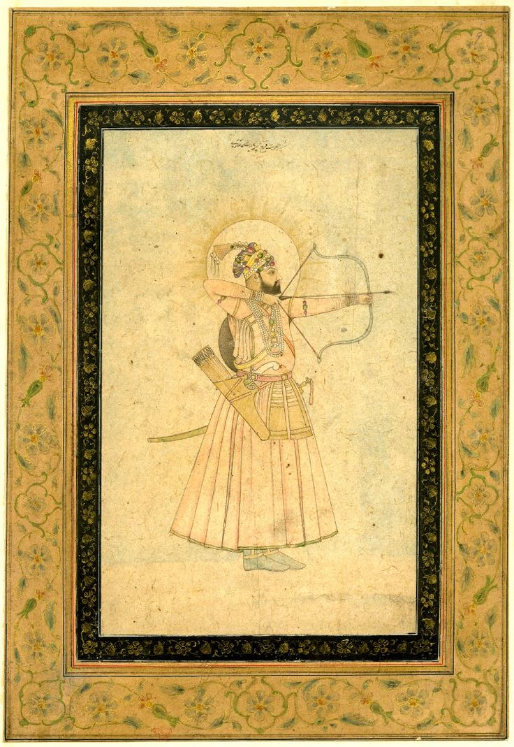 Farrukh Síyar is depicted in the act of shooting an arrow