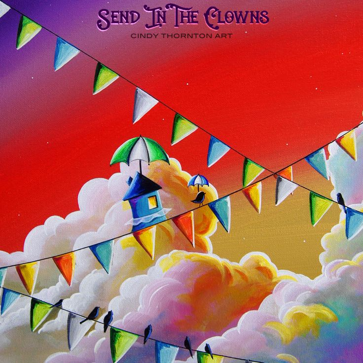 """""""Send In The Clowns"""" limited edition print. See it on #etsy - #circus #carnival #whimsicalart #artforkids"""