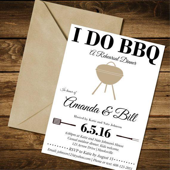 I DO BBQ Rehearsal Dinner Invite - Printable Invitation, PDF, Wedding Rehearsal Dinner Custom Invitation  This listing is for a PRINTABLE