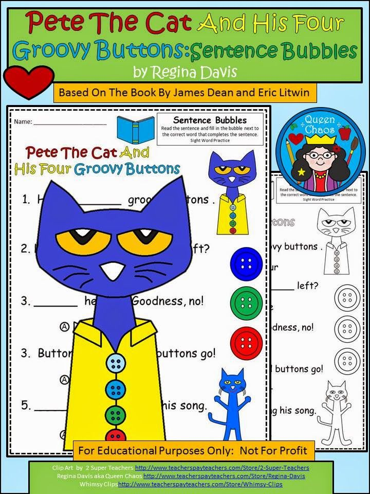 FREE Pete the Cat 4 Groovy Buttons printables. Pete the