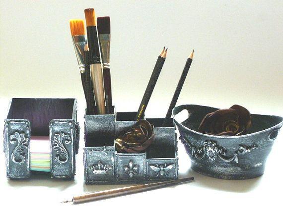 Office Organizer Set Desk Organizer Set Pencil by InspirellaDesign