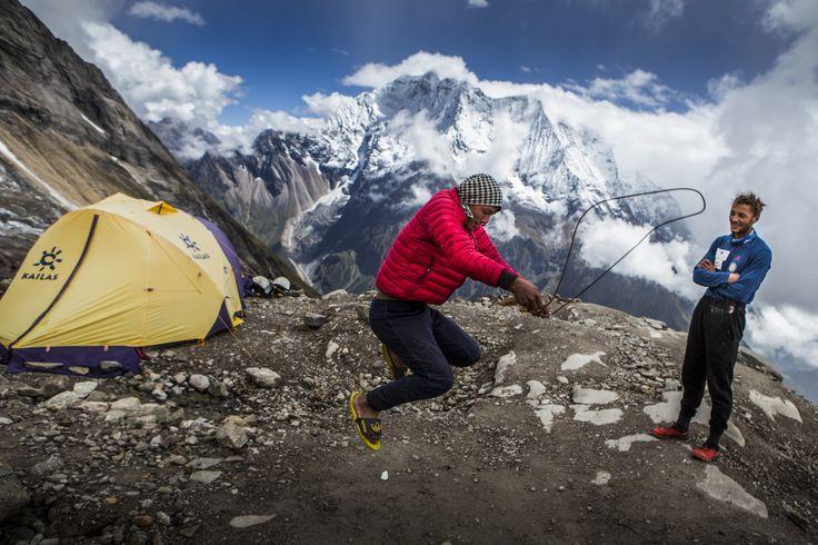 """Manaslu Ski Challenge 2014"" was the second event of the five-year project called Hic Sunt Leones.. photo: Marcin Kin Photography #suntleones #manaslu #mountains #jump"