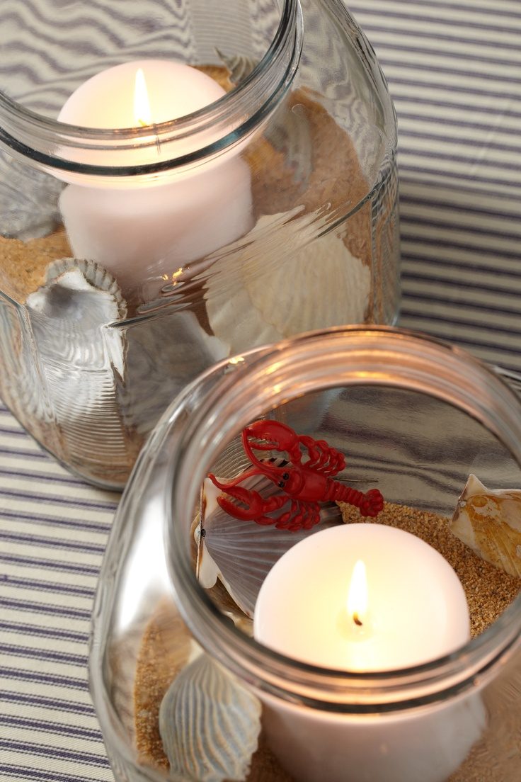 Candles with Sand and Seashells. Bring the beach to you and your baby shower guests.
