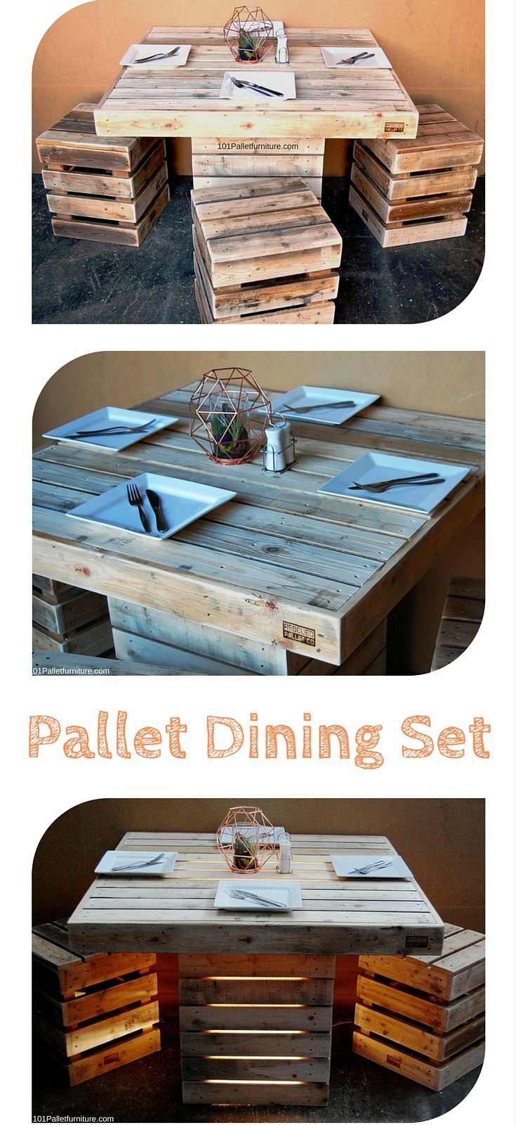 Pallet Dining Set - DIY Dining Table Out of 100% #Pallets with Stools #palletoutdoorfurniture