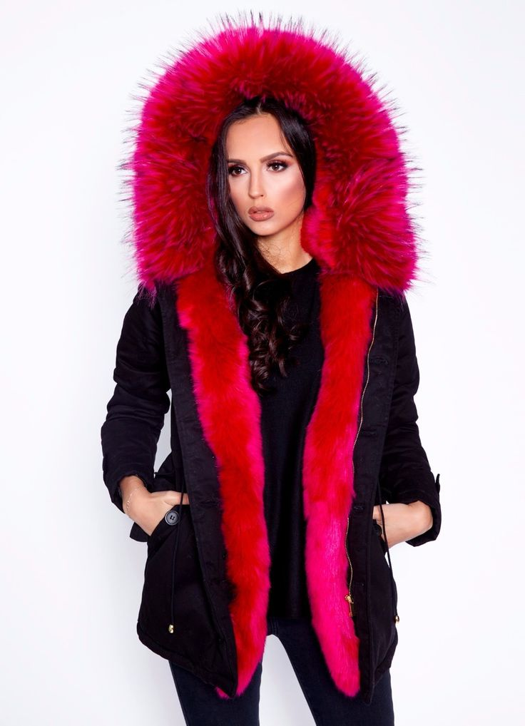 Langer Parka mit Fake-Fur Pelz in Pink online bestellen