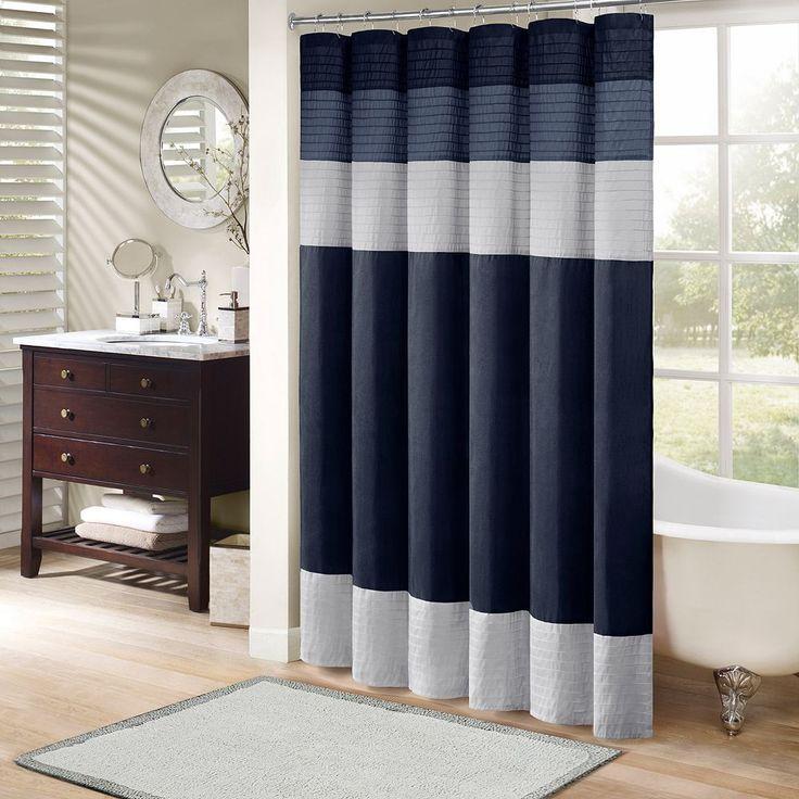 Madison Park Eastridge Shower Curtain, Blue (Navy
