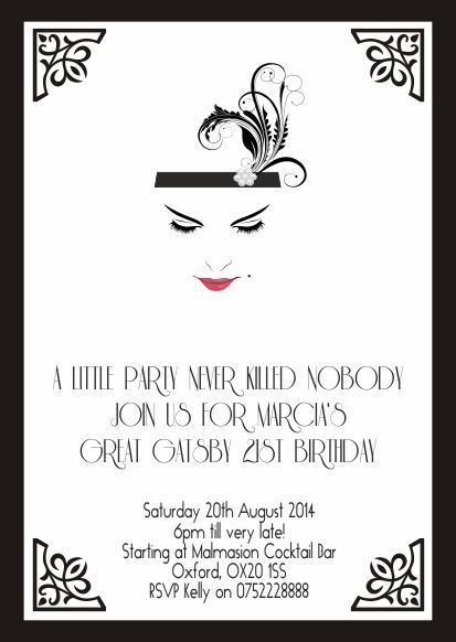 10 x Great Gatsby Personalised Birthday Evening Invitations/Thank you Cards