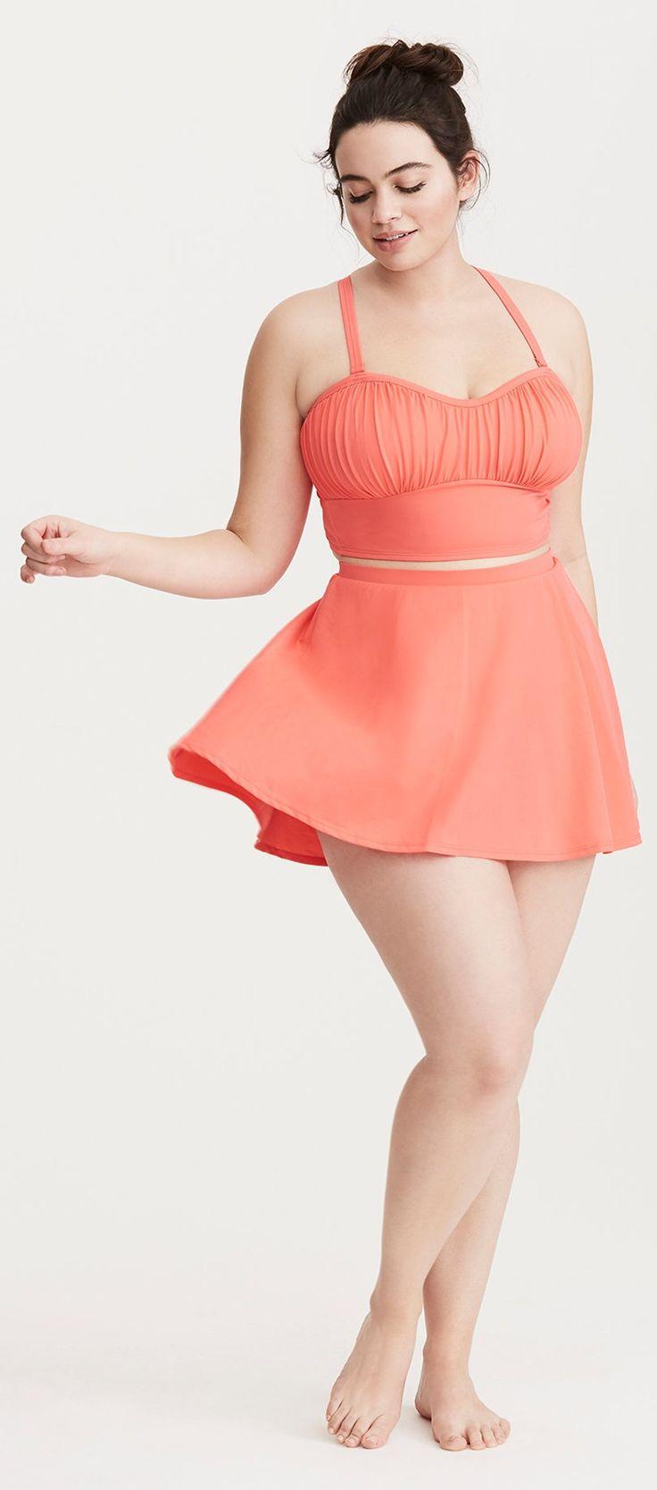 Plus Size Ruched Bikini Swimsuit - Plus Size Swimsuit