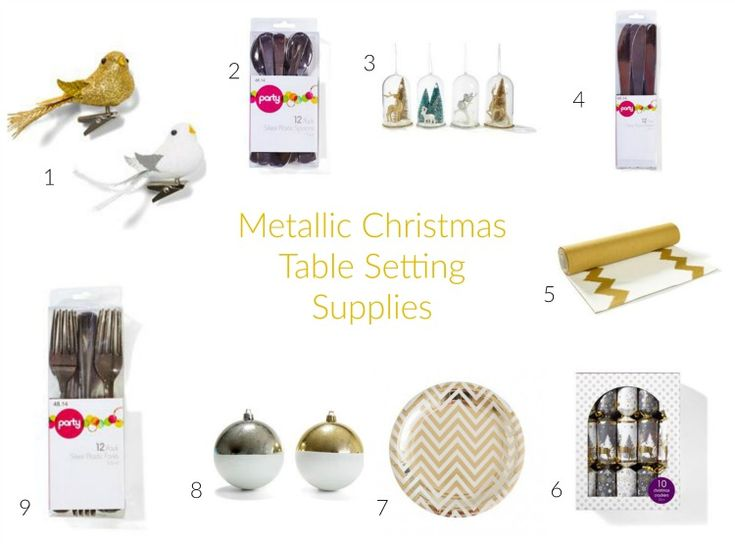 Metallic Christmas Table Setting Supplies #littlepartylove #decorations #partyideas #metallic #metallicchristmas #christmas