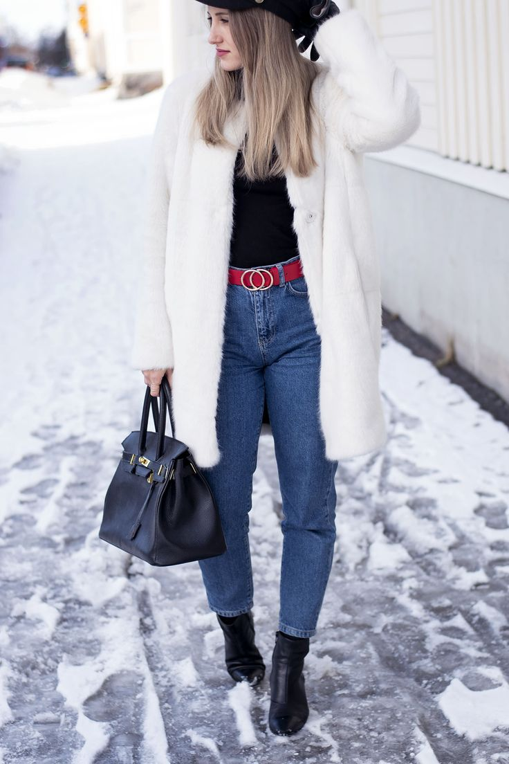 OUTFIT- White fake fur. Denim, mom jeans, 2018, red belt, gold, tyle, trendy, for school