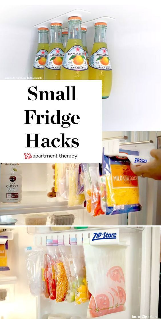 Make Your Tiny Fridge Feel Twice as Big: 11 Brilliant Hacks | Here's how you make a tiny fridge bigger: You don't need magic or borderline-psychic Craigslist sense, you just need some clever hack-y solutions. Here are eleven tricks collected from Pinterest and across the web—each one hand-picked to make the most of your limited refrigerator and freezer space.