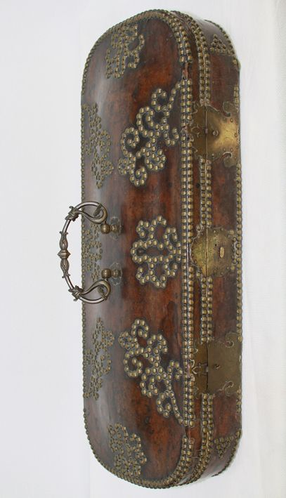 This exceptional case is fairly typical in construction for violin cases made in Northern Italy during the 17th and early18th centuries. They were usually fashioned from walnut and covered with leather secured with decorative stud work. Photo courtesy Chi Mei Museum, Taiwan