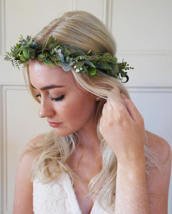 woodland wedding rustic flower crown Green and blue flower crown- Rustic flower crown with green and blue leaves and foliage floral halo