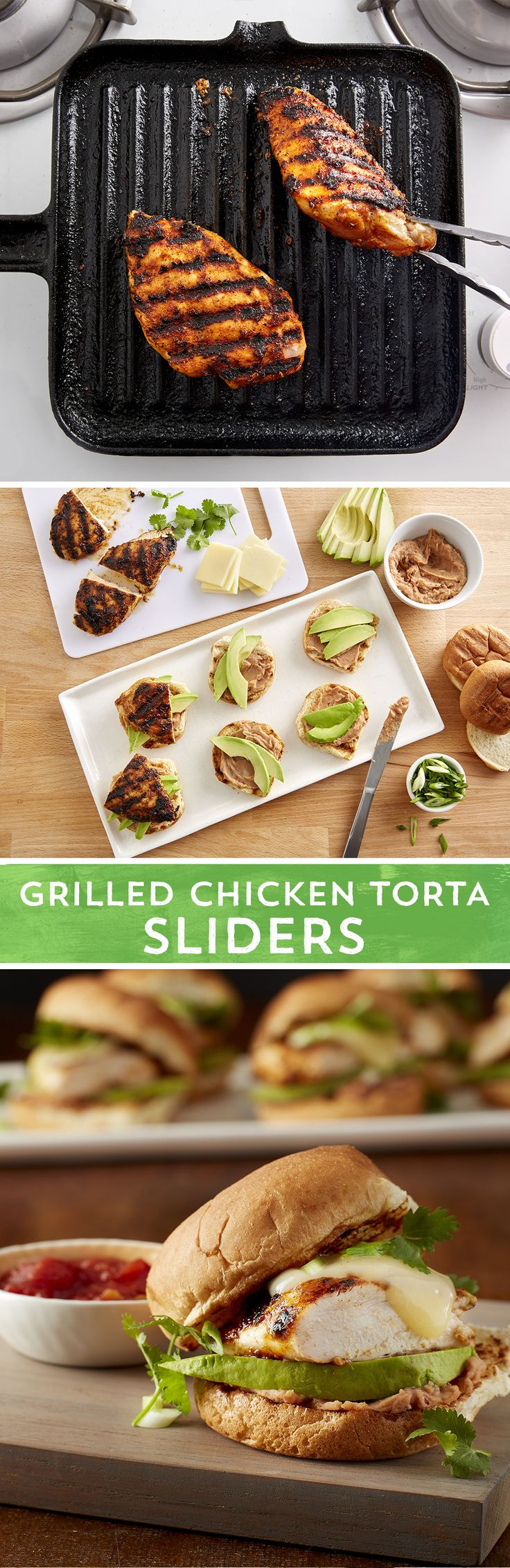 Perfect party-sized chicken sandwiches with a Mexican flair. Take plain chicken up a notch by coating it with oil and Old El Paso™ chicken seasoning before grilling. Old El Paso™ refried beans create a savory spread for toasted buns and the perfect bed for the grilled chicken, avocado, Monterey Jack cheese, green onions, and salsa. These torta sliders are sure to be a Cinco (and everyday) favorite.