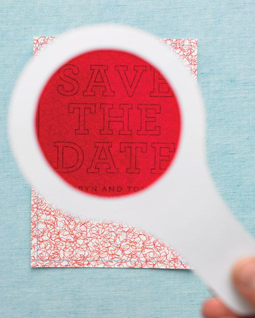 """Encrypted Save-the-Date How-To. This Martha Stewart tutorial has the templates needed to make the lens, """"red-squiggle"""" design, & an editable template for the note. PERFECT for VBS!!"""