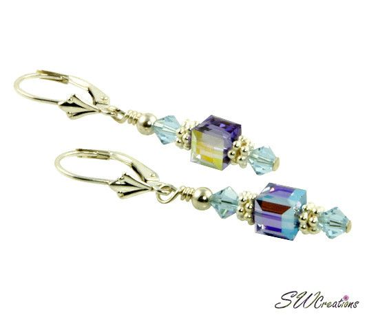 Tanzanite Sapphire Cube Crystal Earrings