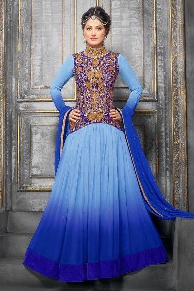 Buy indian Wedding Wear salwar Kameez With Blue Colored And Semi Stitched Salwar Suits