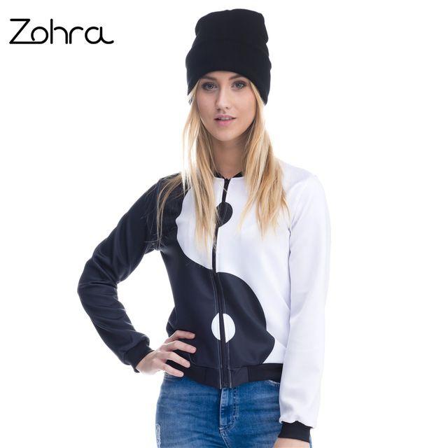 Flash Deals $15.21, Buy Zohra Fashion 3D Printed Ying Yang Womens Bomber Jacket Outwear Short Paragraph Baseball Coats Jackets