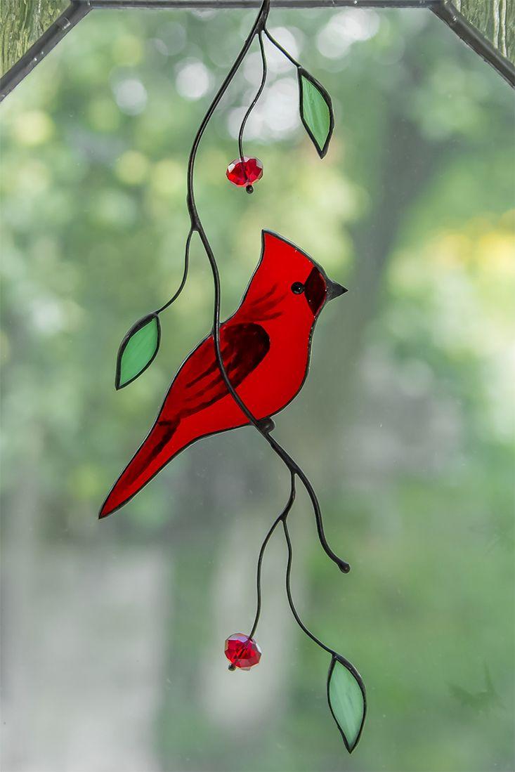 Stained Glass Cardinal Suncatcher Custom Stained Glass Bird