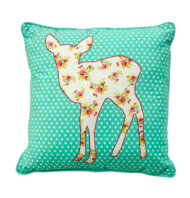 Fab deer cushion, £5 I love the colour of it - you could have this elsewhere too!