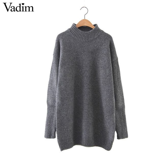 Women basic solid warm long turtleneck sweaters long sleeve knitted pullover female office wear European casual tops