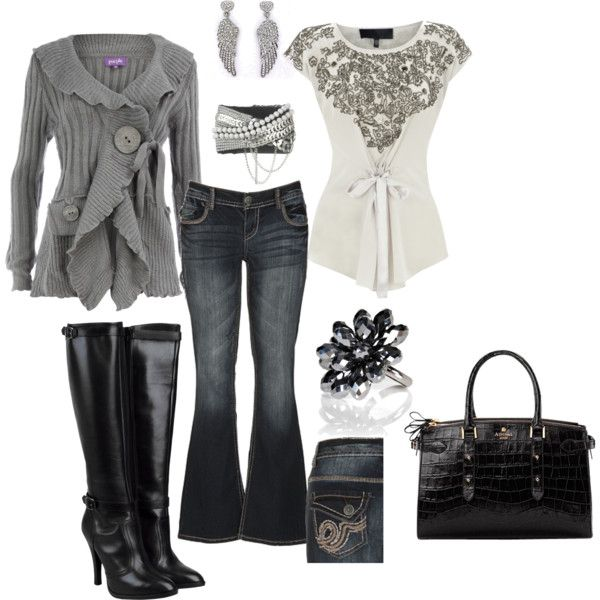 Grey and Black Love, created by cougarmoma.polyvore.com   MY FIRST CREATION!!!!: Black Colors, Dreams Closet, Cute Sweaters, Black Boots, Black Grey, Colors Black, Black Love, Jeans And Boots, Sweaters And Jeans