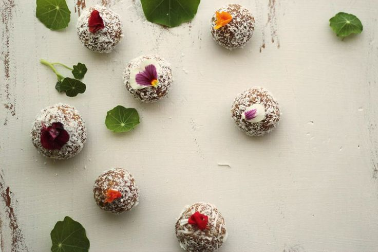 Bliss Balls from Unbirthday  Aerial view  Flowers and leaves are edible