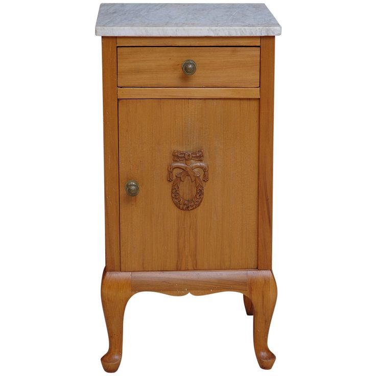 Small Cherry Nightstand with Marble Top, circa 1910 1 800