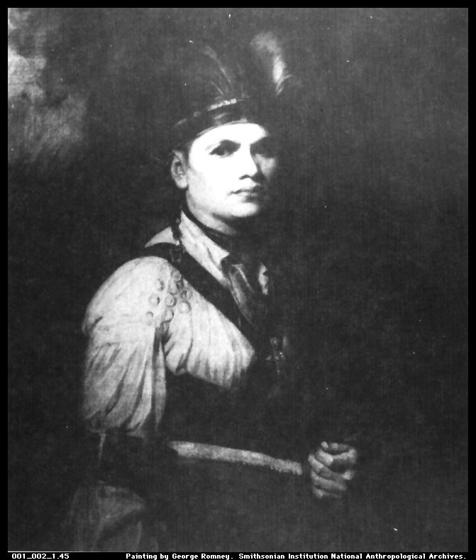 Joseph Brant, born in 1742, was a Mohawk chief who helped gain   Indian support for the British in the French & Indian War between   1754 & 1763. From 1763 to 1776, Brant & his tribe assisted the   British in the American Revolution by attacking the American settlers. After the Revolution, unable to negotiate a land settlement with the American government, Brant obtained a land grant in Canada & he & his followers settled in the area now known as   Brantford, Ontario.