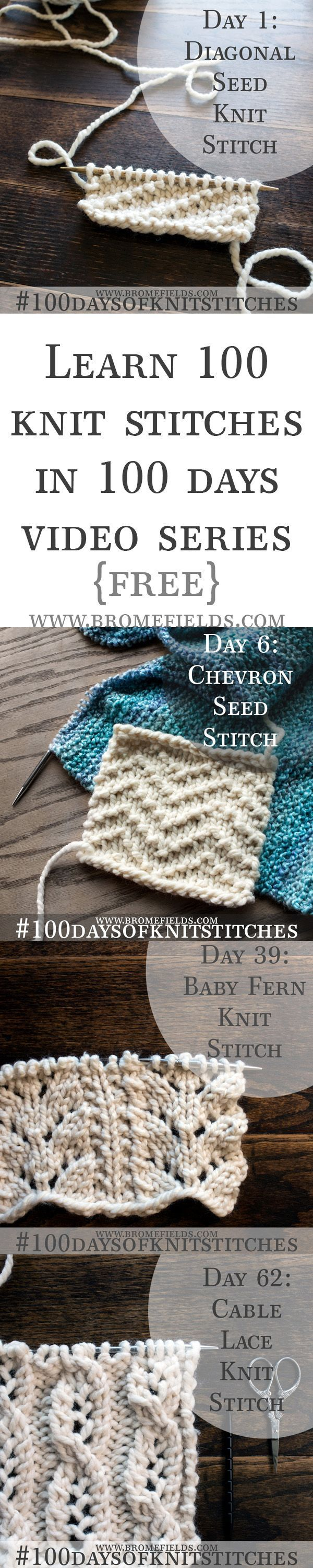 Receive an email everyday for the next 100 days with a new stitch, a free PDF pattern and a video to show you exactly how to knit the stitch, row by row. {For beginner through advanced knitters!}