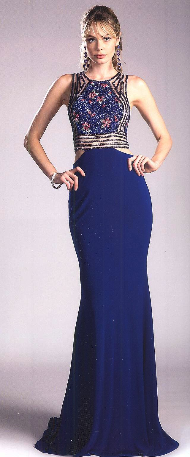 Prom Dresses Evening Dresses by CINDERELLA<BR>add84001<BR>Jewel neckline bodice fully beaded design front to racer back with strategic side hip cutouts accentuating figure.