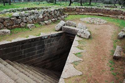 ArcheoArchitecture. The stairs to the sacred well. Santa Cristina, Paulilatino, Oristano, Sardinia, Italy.