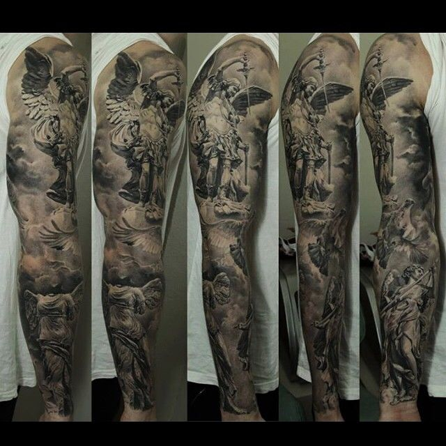 An emotional black and grey tattoo sleeve by artist Dmitriy Samohin. | Intenze ink