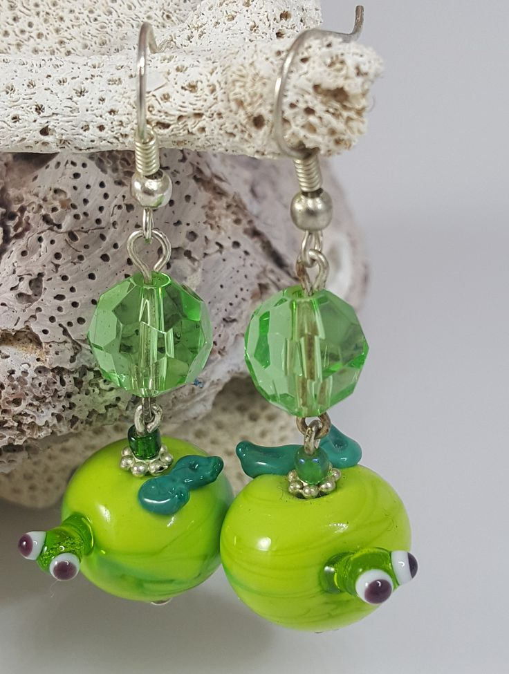 Excited to share the latest addition to my #etsy shop: Matching pair of green apple with worm, glass Lampwork bead earrings. Handcrafted glass bead earrings. http://etsy.me/2tys71w #jewelry #earrings #green #black #lampworkglass #elephants #glassbeads #womensjewelry